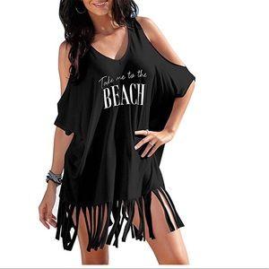 Women bikini cover up beach dress t shirt